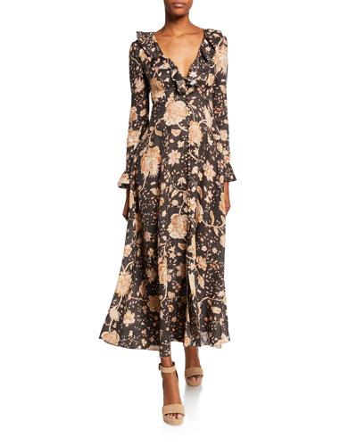 Veneto Floral Frill-Trim Maxi Dress