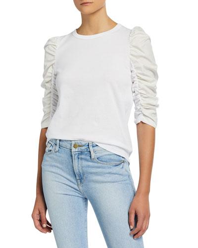 Crewneck Ruched 3/4-Sleeve T-Shirt