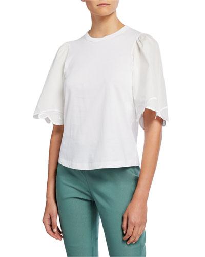 Crewneck Half-Sleeve Embellished Cotton Top