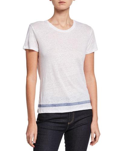 Crewneck Short-Sleeve Linen Tee w/ Bottom Stripe Detail