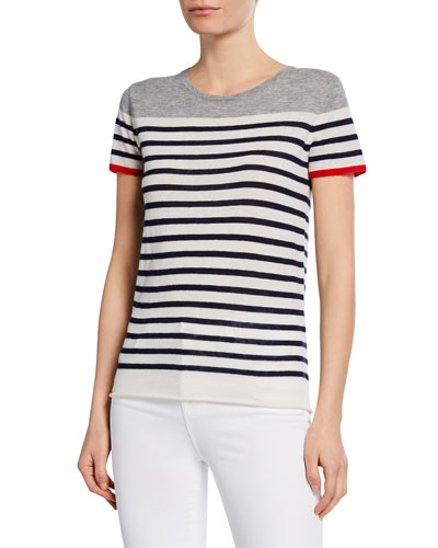Striped Short-Sleeve Cashmere Tee