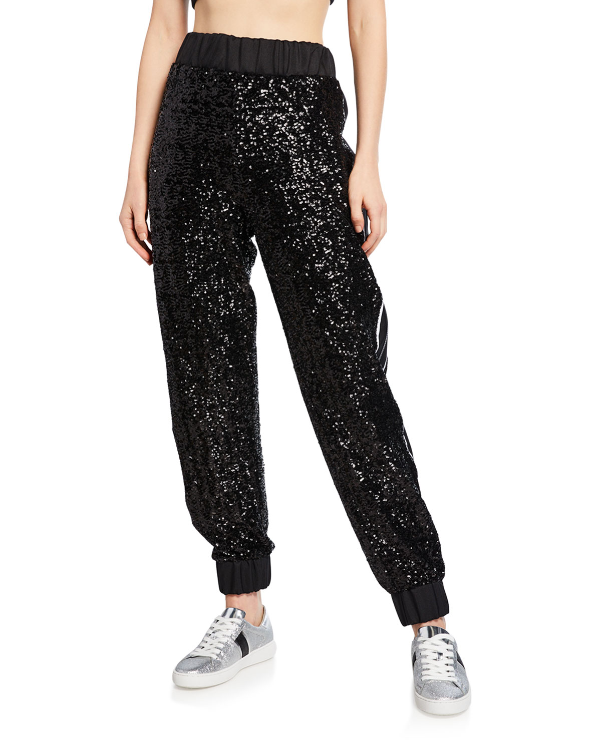 No Ka'oi Tops MIDNIGHT SEQUINED JOGGERS WITH EMBROIDERY