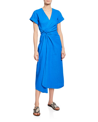 Edie V-Neck Short-Sleeve Ruched Dress w/ Slit