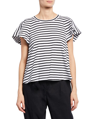 Carrie Striped Crewneck Short-Sleeve Top