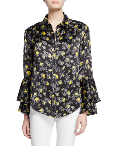 kirby floral-print silk ruffle-sleeve button-down top