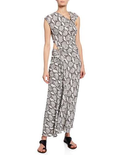 Beale Snake-Print Maxi Dress w/ Cutouts