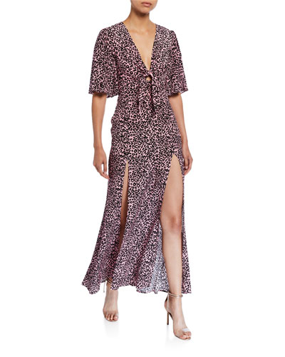 Tie-Front Flutter-Sleeve Dress with Slits
