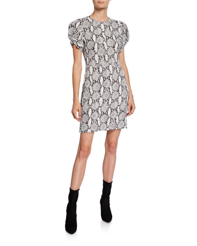 Brinley Dress Snake-Print Short-Sleeve Mini Dress