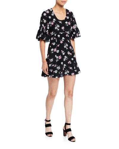 Floral Ruffle-Sleeve Mini Dress