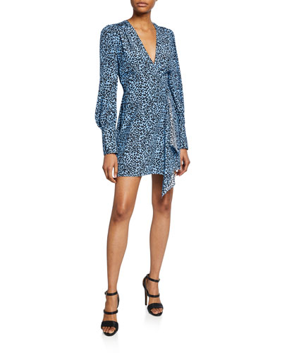 Silk Leopard-Print Long-Sleeve Mini Wrap Dress