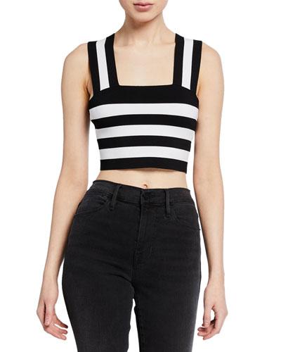 Tia Striped Sleeveless Crop Top