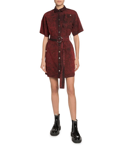 Short-Sleeve Belted Snap-Front Shirt Dress