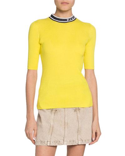 Short-Sleeve Knit Lightweight Crewneck Top