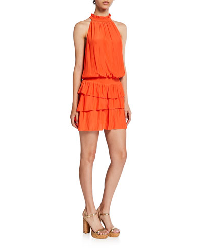 Perla Halter-Neck Smocked Dress