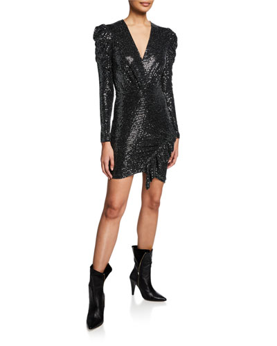 Loulou Sequined Long-Sleeve Dress