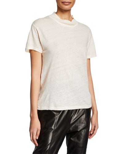 Wake Mock-Neck Short-Sleeve Linen Top