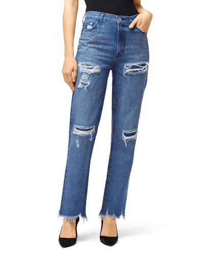 Jules High-Rise Straight-Leg Jeans with Rhinestones