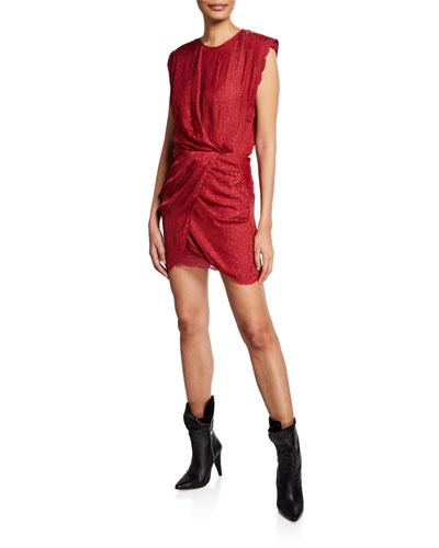 Dedora Draped Jacquard Dress with Lace