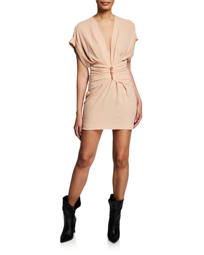 Gastona V-Neck Short-Sleeve Ruched Mini Dress
