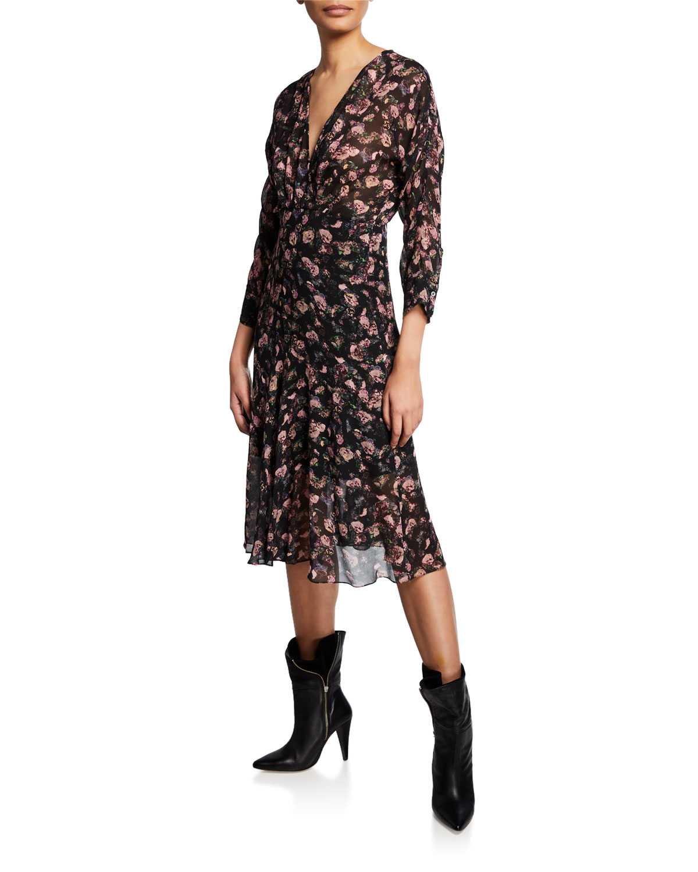 Iro Dresses TEMPER FLORAL-PRINT MIDI DRESS