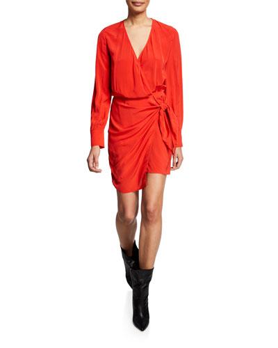 Ophie Long-Sleeve Wrap Dress