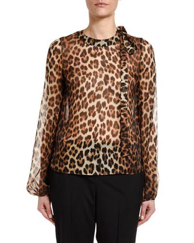 Leopard Silk Blouson-Sleeve Neck-Tie Blouse
