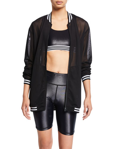 Striped Zip-Front Mesh Bomber Jacket