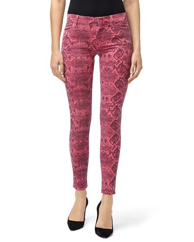 Mid-Rise Super Skinny Snake-Print Jeans