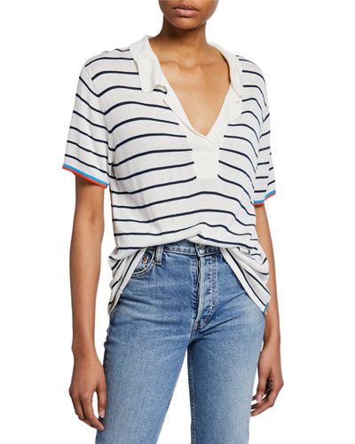 Striped V-Neck Short-Sleeve Top