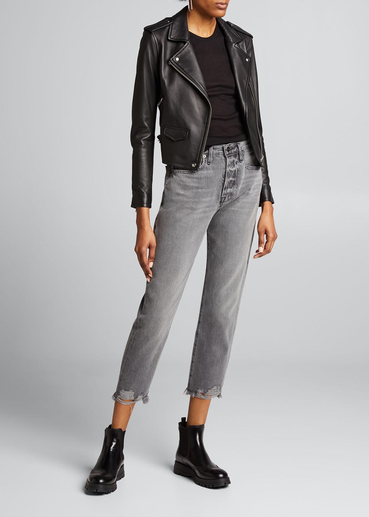 Iro Jackets Ashville Cropped Leather Jacket, BLACK