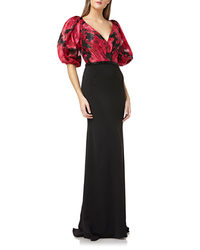 Printed-Bodice Puff-Sleeve V-Neck Gown with Crepe Skirt