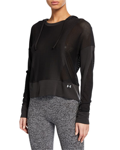 Move Light Cropped Mesh Pullover Hoodie