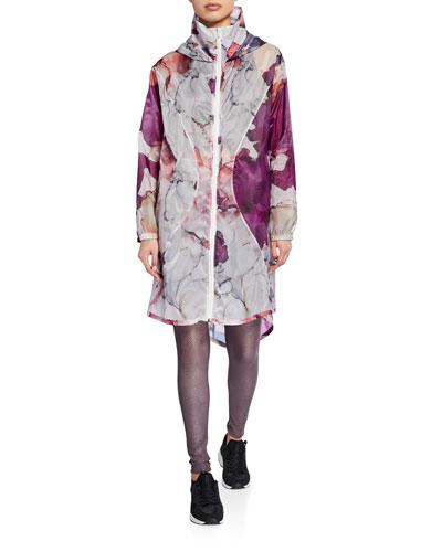 Floral Hooded Zip-Front Active Jacket