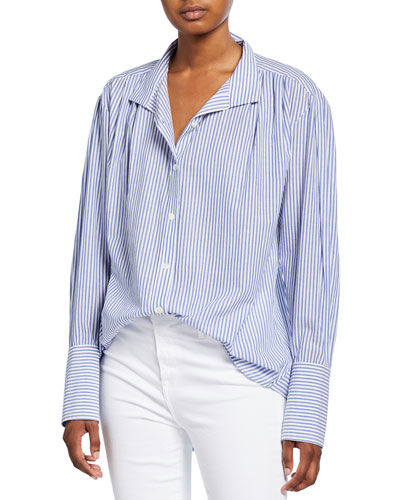 Pleated Clean-Collared Striped Shirt