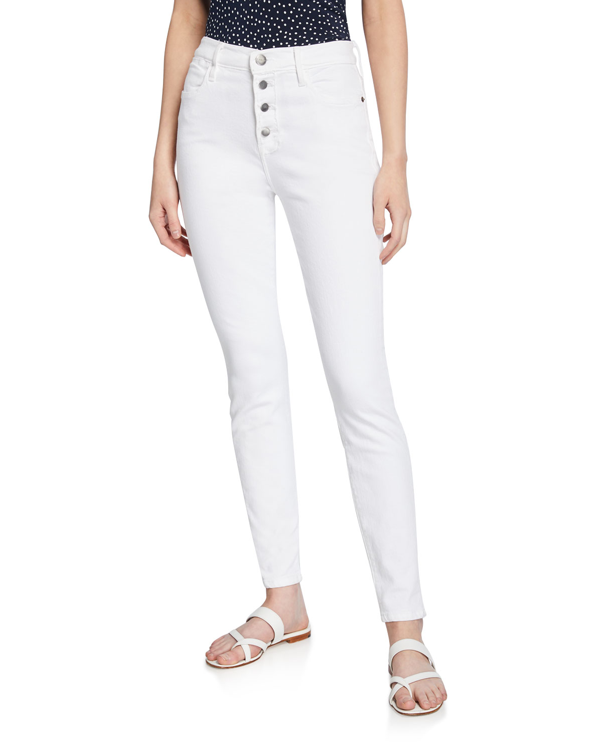 Frame Jeans LE HIGH SKINNY JEANS WITH BUTTON FLY