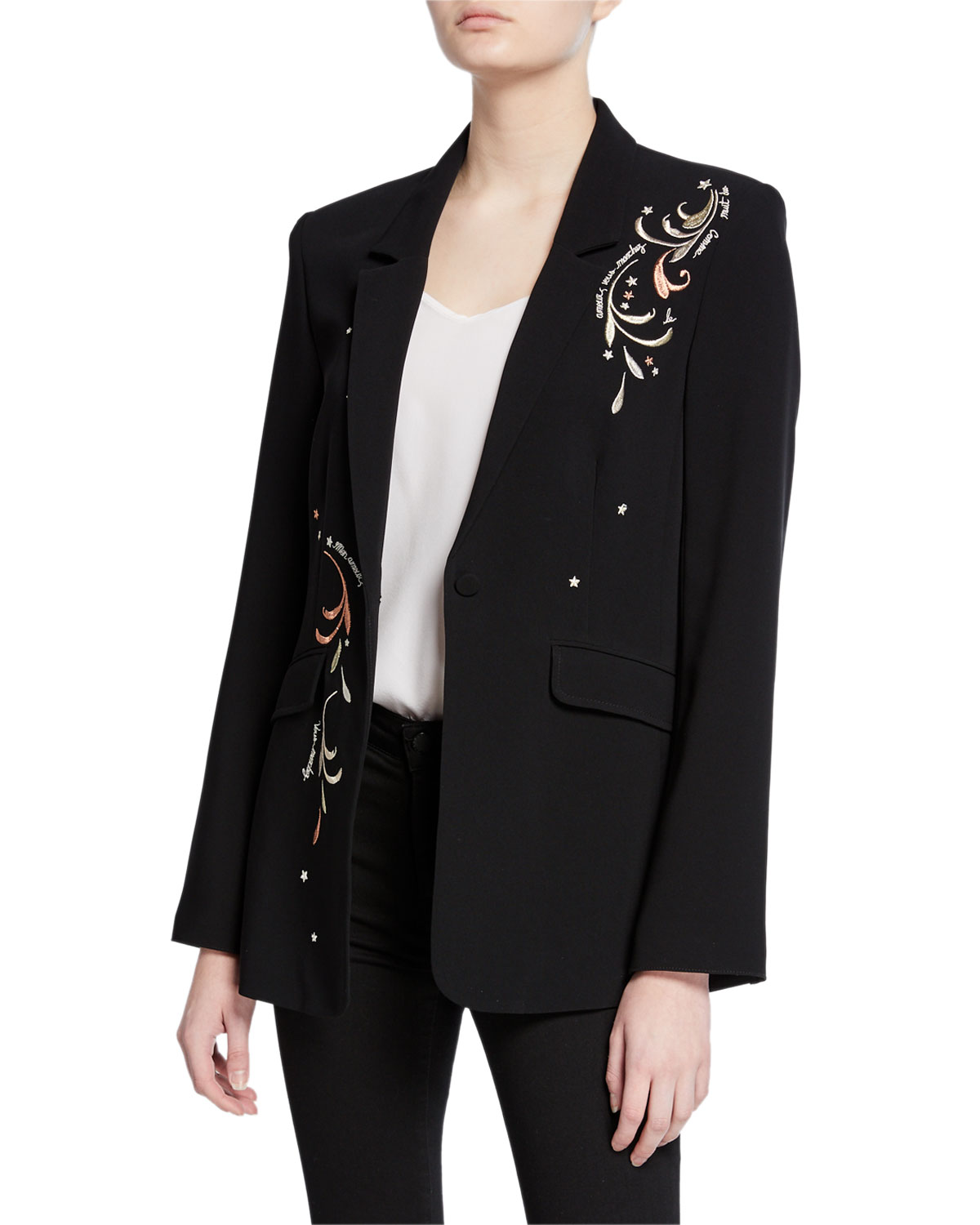 Cinq À Sept Blazers ESTELLE EMBROIDERED ONE-BUTTON CREPE BLAZER