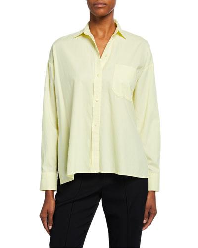 Button-Down Long-Sleeve Boxy Shirt