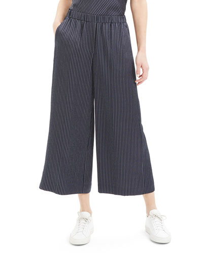 Roaka Double-Stripe Wide-Leg Crop Pants