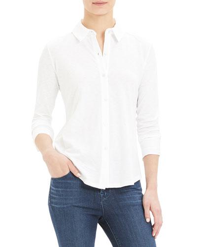 Riduro Button-Down Long-Sleeve Slub Cotton Shirt
