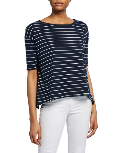 Core Striped Half-Sleeve Cotton Tee