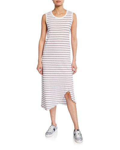 Striped Asymmetric Jersey Tank Dress