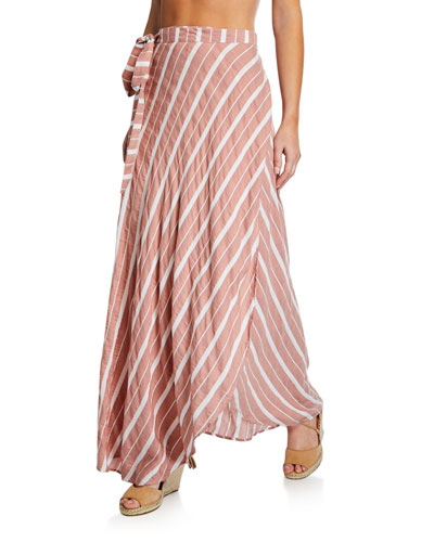 Amanda Striped Wrap Coverup Skirt