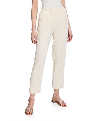 Crepe-Back Satin Pull-On Elastic Pants
