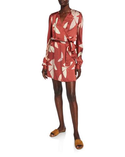Papillons Gitans Long-Sleeve Cloque Wrap Dress