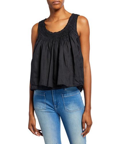 Scoop-Neck Smocked-Yoke Sleeveless Layered Top