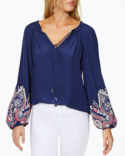 Shanese Embroidered Long-Sleeve Top