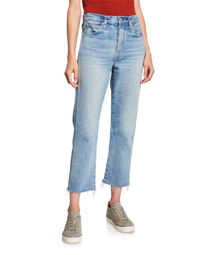 Loverboy High-Rise Cropped Jeans with Frayed Hem