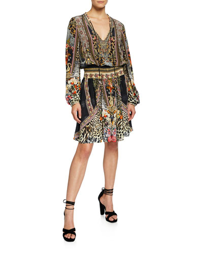 Shirred Long-Sleeve Printed Short Dress