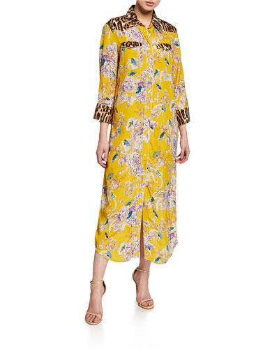 3/4-Sleeve Cowboy Combo Dress