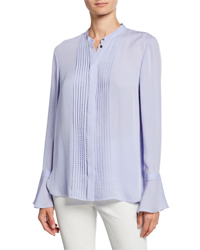 Paige Button-Front Bell-Sleeve Silk Blouse